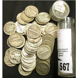 Plastic tube containing (50) Old U.S. Mercury Dimes. Average circulated.