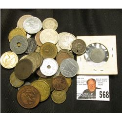 (50) unattributed old Foreign Coins, tokens, & etc. from various countries.