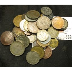 (50) unattributed old Foreign Coins, tokens, & etc. from various countries. At least one piece is si
