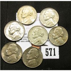 AU-Uncirculated group of Jefferson Nickels: 1939 P, 41 P, 42 P, 43 P (Silver), 46 P, 46 S, & 49 P.