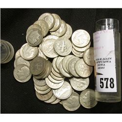 (50) Old circulated Silver Roosevelt Dimes in a plastic tube.