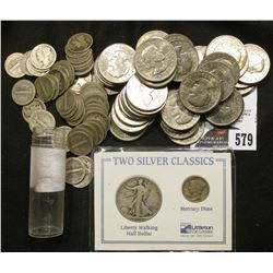"(50) Old Susan B. Anthony Dollar Coins; a ""Two Silver Classics"" holder with a Walking Liberty Half-D"
