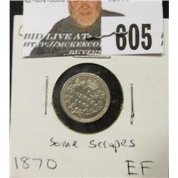 1870 Canada Five Cent Silver, EF with some scrapes.