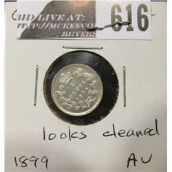 1899 Canada Five Cent Silver, AU, possibly cleaned.