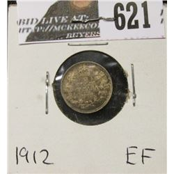 1912 Canada Five Cent Silver, EF.