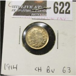 1914 Canada Five Cent Silver, Choice BU 63.
