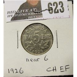 1926 Near 6 Canada Nickel, Choice EF.