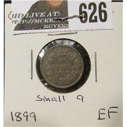 1899 Small 9's variety Canada Silver Dime. EF.