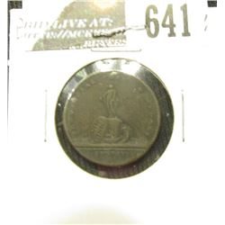 Early Great Britain Trade Token depicting a Coin Press on the obverse and a Statue of the reverse, a