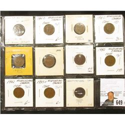 (11) Newfoundland Cents: (5) 1941, (4) 1942, & (2) 1943, grading Fine to EF.