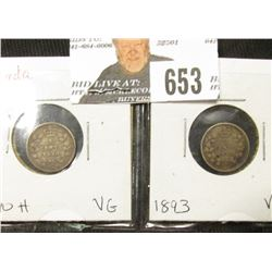 1890H & 1893 Canada Five Cent Silver, both grading VG.