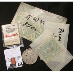 """Hamm's Beer"" Match Book; cancelled 1/8 Cent Proprietary Stamp; ""Cordials, Wines, Etc. 2 Dollars"" St"