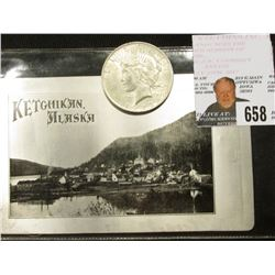 """Ketchikan, Alaska"" Silver Foil Postcard, One Cent Stamp required, unused, depicts Coastal City; & 1"