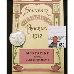 """Souvenir Chautauqua Program 1913 Muscatine Iowa June 26 to July 4""; & 1922 S U.S. Peace Silver Doll"