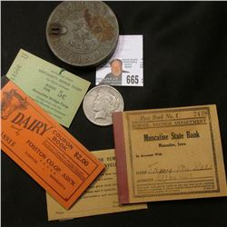 """Remittance…Safety Envelope""; tin lid for a box ""W.D. & H.O. Wills…Bristol & London""; scrip ""Muscati"