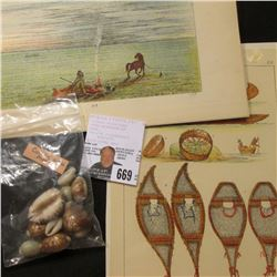 Group of (9) various size pieces of Cowrie Shell Money; & (3) various Indian related Plate Prints.