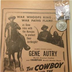 "Movie Poster ""Columbia Pictures presents Gene Autry World's Greatest Cowboy and Champion World's Won"