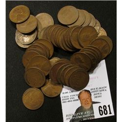 (50) Mixed Mintmark & grade 1923-25 U.S. Lincoln 'Wheat' Cents.