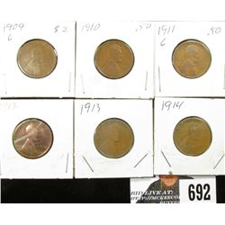 1909, 10, 11, 12, 13, & 14 Lincoln Cents. G.