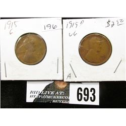 1915 G & 1915 D VG Lincoln Cents.