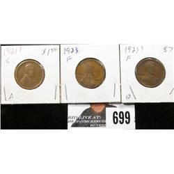1921 S, 1923 & 1923 S Lincoln Cents. G-F.