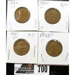 1924, 24 S, 25 & 25 S Lincoln Cents. G-VF.