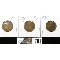 1926 F 1926 D F & 1926 S Damaged Lincoln Cents.