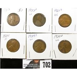 1927, 27 D, 27 S, & 29, 29 D, 29 S Lincoln Cents. VG-F.