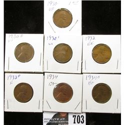 1930, 30 D, 30 S, 32, 32 D, 34 & 34 D Lincoln Cents. VG-EF.