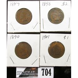 1897, 1898, 1899 & 1901 Indian Head Cents. G