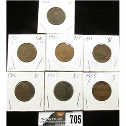 1902, 03, 04, 05, 06, 07 & 08 Indian Head Cents. G-VG.