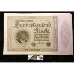 1923 Germany 100,000 Mark Note. Uncirculated.