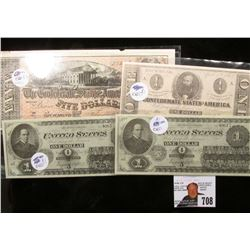 (4) Pieces Repoduction US and Civil War Currency.
