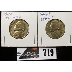 1942 S BU and 1943 P AU Silver War Nickels.