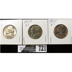 1952 S, 1953 D & 1953 S  Jefferson Nickels. BU.
