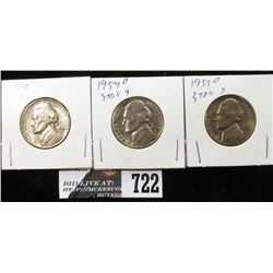 1954, 1954 D & 1955 D Jefferson Nickels. BU.