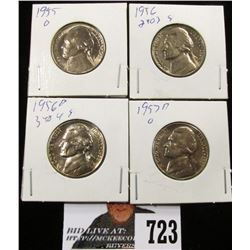 1955, 1956, 1956 D & 1957 D Jefferson Nickels. BU