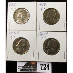 1958 D, 1959, 1959 D & 1960 D Jefferson Nickels. BU.