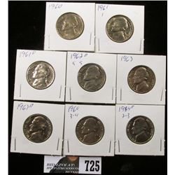 1960, 61, 61 D, 62 D, 63, 63 D, 64 & 64 D Jefferson Nickels. BU.