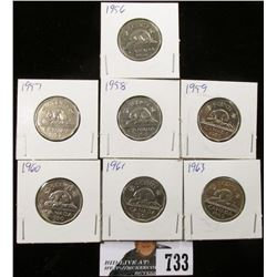 1956, 57, 58, 59, 60, 61 & 63 Canadian Nickels.