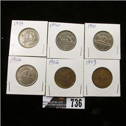 1939, 40, 41, 42 & 42, 43 Tombac Canada Nickels.