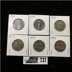 1944, 45, 46, 47, 48 & 49 Canadian Nickels.