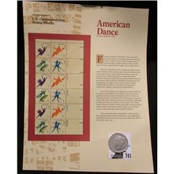 "April 26, 1978 ""American Dance"" U.S. Commemorative Stamp Block (12) .13c stamps on framable poster;"