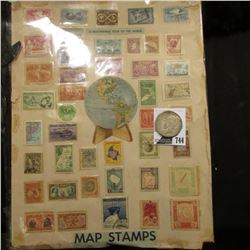 """A Facinating Tour of the World Map Stamps"" displayed on a poster board; & 1922 S U.S. Peace Silver"