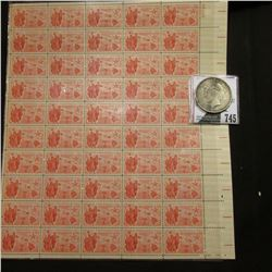 50-Stamp Mint Sheet of 1959 Hawaii Statehood Seven Cent Postage Stamps; & 1922 D U.S. Peace Silver D
