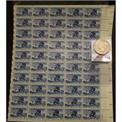 50-Stamp Mint Sheet of 1959 Alaska Statehood Seven Cent Postage Stamps; & 1922 S U.S. Peace Silver D