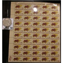 50-Stamp Mint Sheet of Nebraska Statehood 1867-1967 Five Cent Postage Stamps; & 1922 D U.S. Peace Si