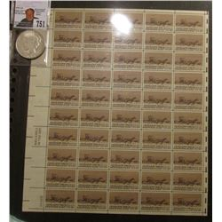 50-Stamp Mint Sheet of Cherokee Strip Six Cent Postage Stamps; & 1923 D U.S. Peace Silver Dollar, Ve