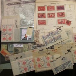 """Mint Sheet Book"" Used; (4) Blocks of Four Four Cent & Ten Cent Mint Stamps; (8) Blocks of Six U.S.A"