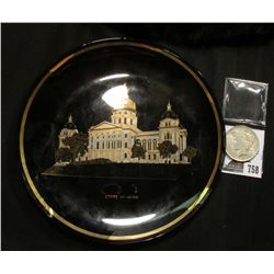 "8 1/4"" Souvenir Plate ""State of Iowa"", smoke colored with Gold Trim; & 1922 P U.S. Peace Silver Doll"